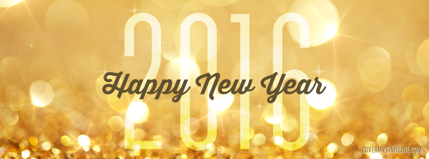 Happy New Year 2016 Glitter Gold Free Facebook Covers